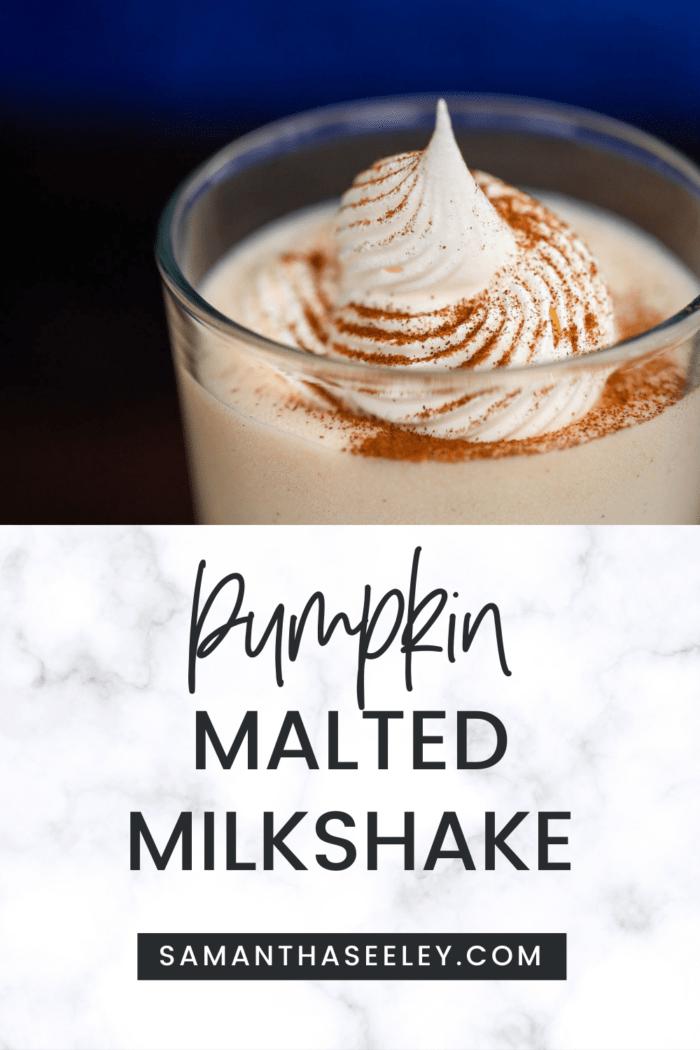 pumpkin milkshake with whipped cream and cinnamon sprinkled on top