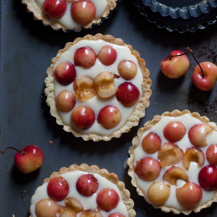 Rainier Cherry and Mascarpone Mini Tarts