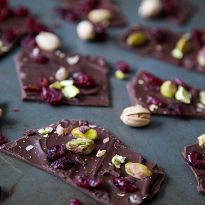 Cranberry Pistachio Chocolate Bark