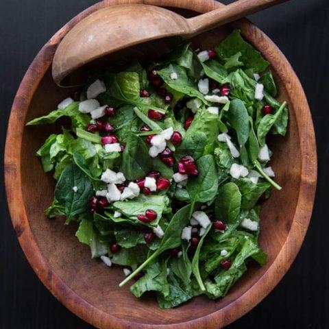 Spinach Pomegranate Feta Salad