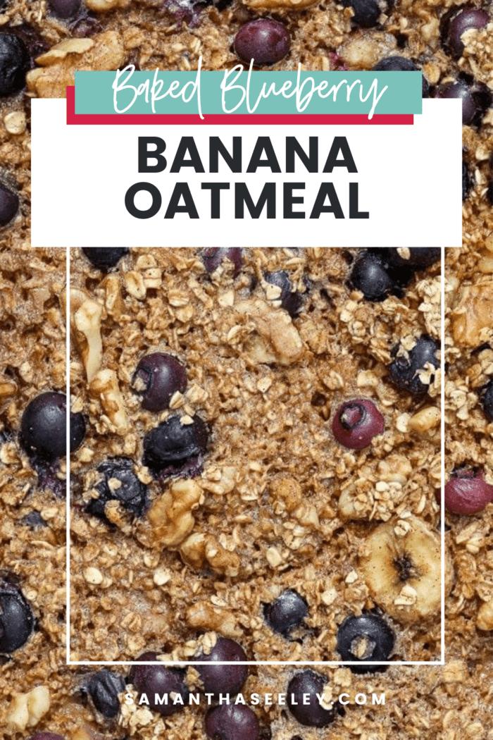banana oatmeal with blueberries, walnuts, and bananas